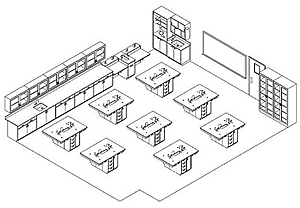 Diagram of integrated teaching and research lab designs