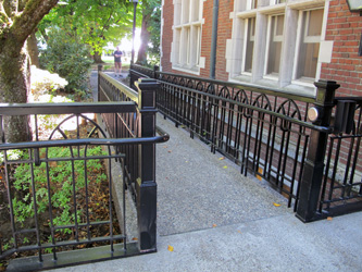 A view of a sensitively designed ramp at Reed College in Portland, Oregon.