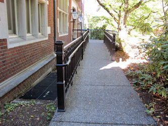 An alternate view of a sensitively designed ramp at Reed College in Portland, Oregon.