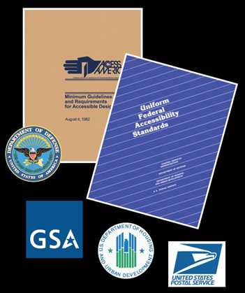 collage of agencies info and logos involved in ADA standards
