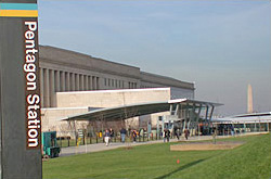 Metro entrance facility with Pentagon security entrance and visitor screening center
