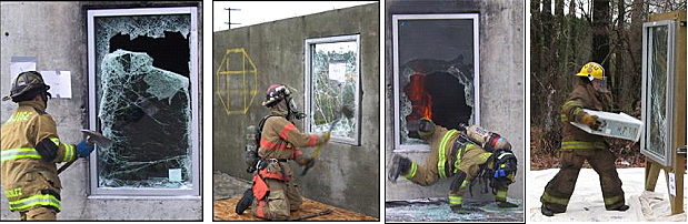 series of photos showing firefighters using various objects, tools and techniques to breach protective glazing systems