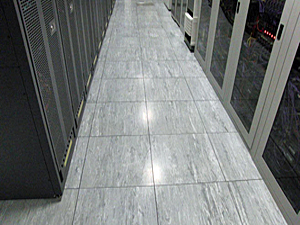 Raised flooring in place in ADP mainframe space