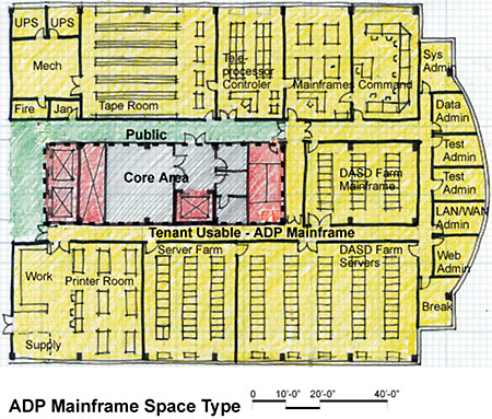Tenant plan -layout- of ADP Mainframe Space Type