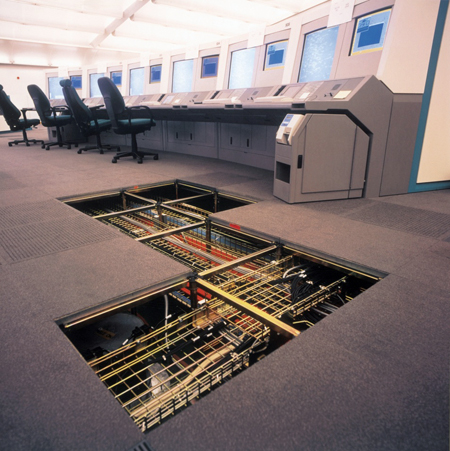 Open view of raised floor with view of cables etc. in ADP PC System space