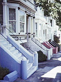 stoops of Victorian row houses in San Francisco
