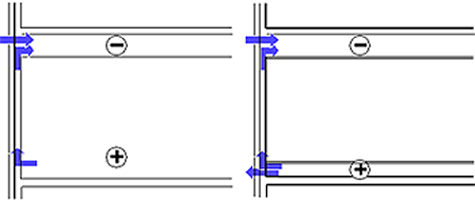 Figure showing plenums connected to exterior enclosure and the movement of moist air depicted by blue arrows through the assembiles