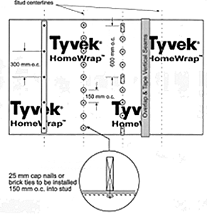 Figure showing the Tyvek HomeWrap material. The 25mm cap nails or brick ties need to be installed 150mm into the stud.