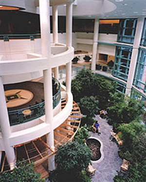 Interior garden view of New Medical Campus, Bronson Methodist Hospital, Boston, Massachusetts