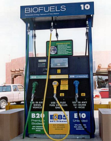 Fuel pump with 20% biodiesel (B20), 85% ethanol, and standard unleaded fuel with 10% ethanol