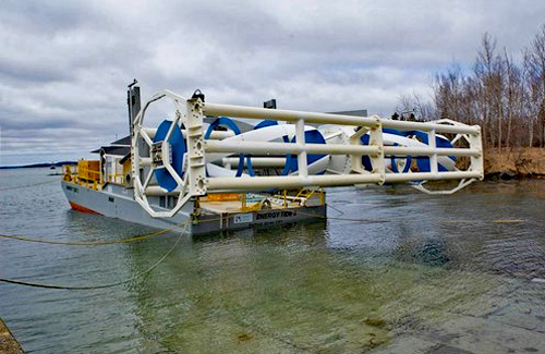 A beta hydrokinetic generator sitting in the water wating to be installed in Maine