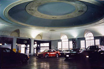 Photo of Chicago hotel ballroom converted into a parking garage