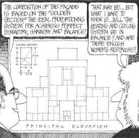 Cartoon illustrating that architects balance ideas, form, and function