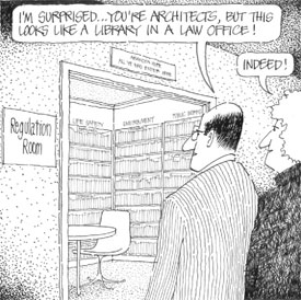 Cartoon showing that resources are central to a knowledge-based practice of architecture.