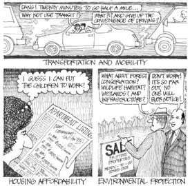 Cartoon depicting Roger K. Lewis' view of emerging issues: transportation and mobility, housing affordablity, and environmental protection