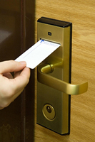 Example of a card key system in use unlocking a door