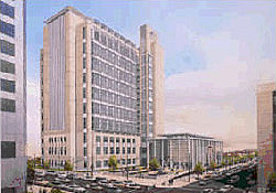 Colored drawing of the Alfred A. Arraj United States Courthouse bulding in Denver, Colorado