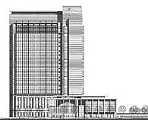 Line drawing of the Alfred A. Arraj United States Courthouse building in Denver, Colorado