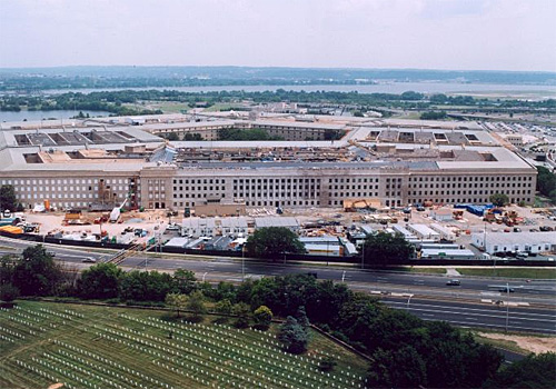 Aerial photo of the Pentagon during renovations