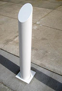 single removable white bollard with angled top
