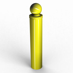 single yellow permanent dome-type bollard
