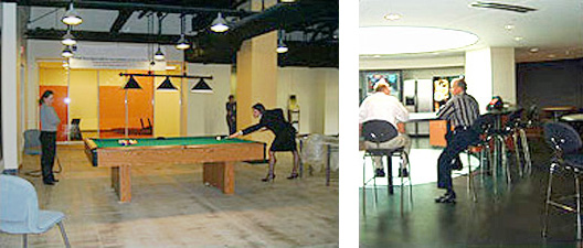 2 side-by-side photos of GSA PBS workplace renovation: left-Two women playing pool, right-Two men sitting at the daylit cafe bar