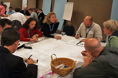Charrette work group participants in discussion at Charrette for Southface New Office Building