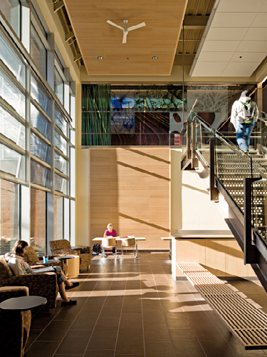 Chemeketa Community College Health Sciences Complex, interior view of two story atrium with catwalk