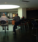 The skylight cafe, located right off of the entryway, is used for informal meetings as well as lunchtime gatherings