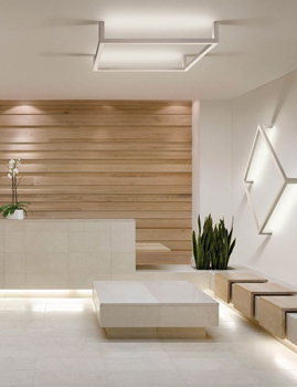 Modern design clinic with wood accent wall