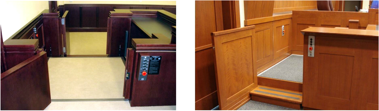 Lifts for accessibility into the jury box in a courtroom. Photos courtesy of Lift-U