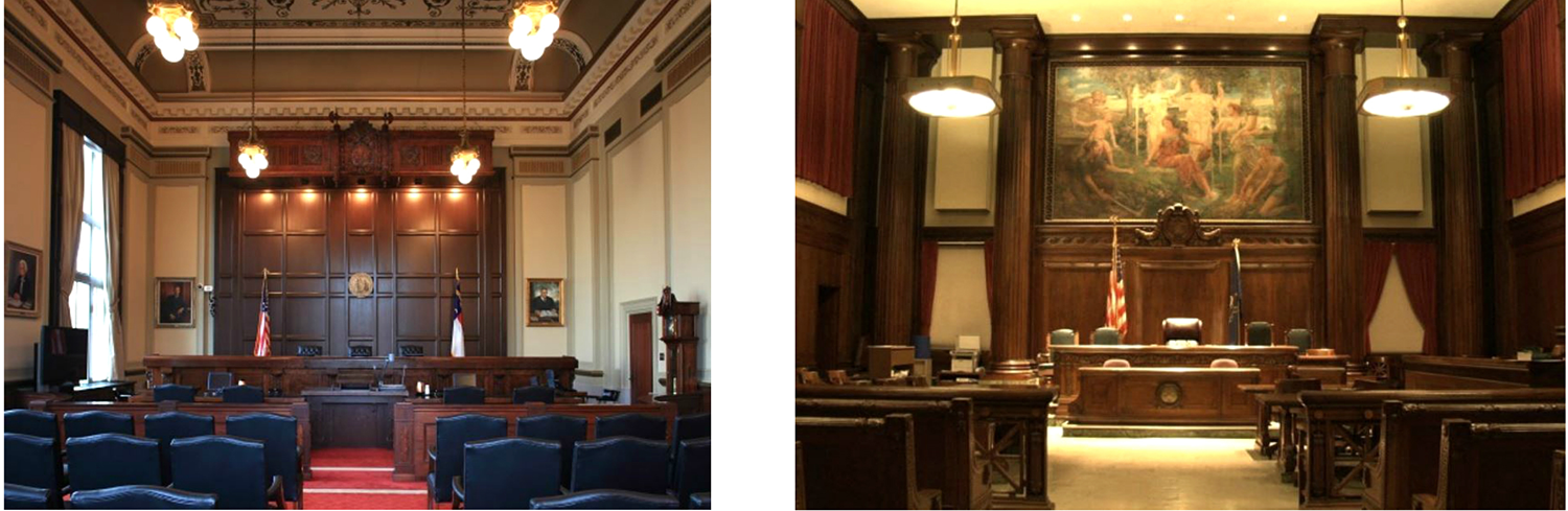 An aesthetically pleasing high ceiling and significant artwork define these two courtrooms