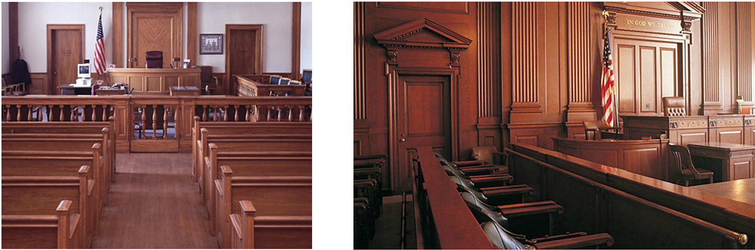 The detailed millwork in two different courtrooms