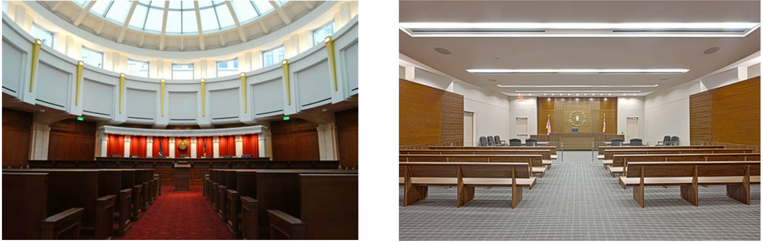 Left: A Supreme Court interior. Right: A District Court interior.