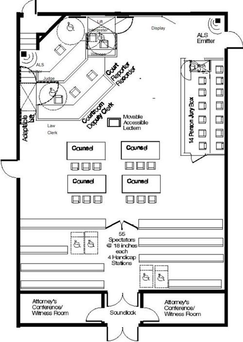 courthouse courtroom wbdg whole building design guide. Black Bedroom Furniture Sets. Home Design Ideas