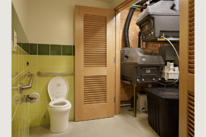 Restroom and mechanical closet with composting units