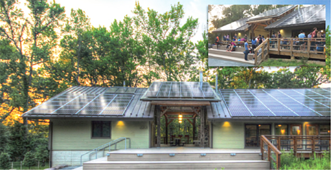 Exterior of the Morris & Gwendolyn Cafritz Foundation Environmental Education Center with picture of people gathered on the porch