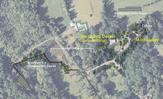 Aerial view of the Morris & Gwendolyn Cafritz Foundation Environmental Education Center site plan