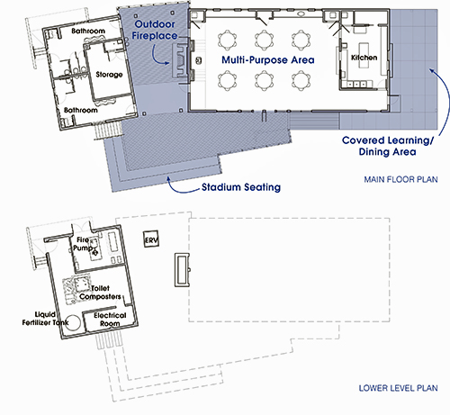Lower level and Main floor plans of the Morris & Gwendolyn Cafritz Foundation Environmental Education Center