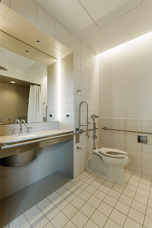 Completed patient bathroom at The Christ Hospital, Cincinnati, OH