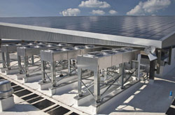 Rooftop solar array at Emerson data center