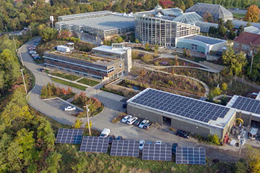 Aerial view of the Center for Sustainable Landscapes featuring solar panels