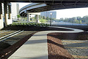 Sustainable landscaping on the north side under the overpass for Reagan National airport