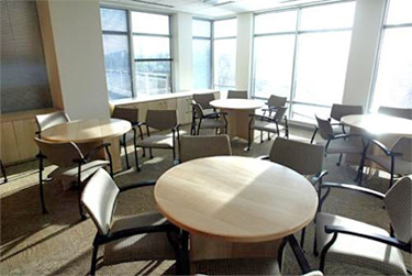 Conference area with abundant daylight and views of the Potomac River and airport with energy efficient, double-glazed windows
