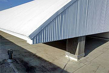 Curved Energy Star white roof covering the mechanical systems