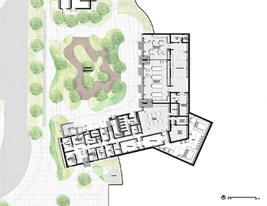 Lower floor plan of Sonoma Academy's Janet Durgin Guild and Commons