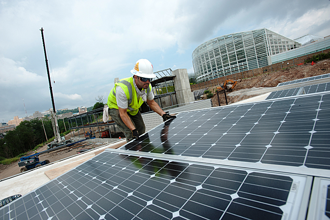 Installing a photovoltaic array at the Center for Sustainable Landscapes, Pittsburgh, PA