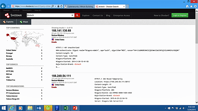 Screenshot of the Shodan program displaying search results for Distech products
