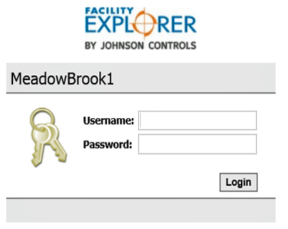Screenshot of login for direct internet connection to Johnson Control Facility Explorer