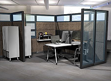A more advantageous workstation layout includes office orientation and glazing.